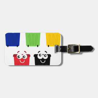 Heureux mignon trashes : coloré Trashes Étiquette À Bagage