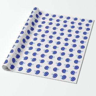 Heureux, souriant, caractères bleus mignons papier cadeau