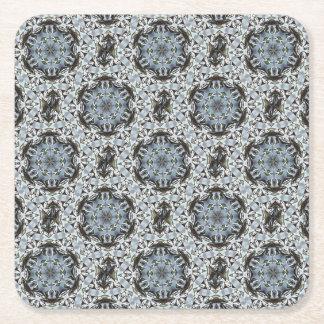 Hexagone de feuille de jungle et de fleurs dessous-de-verre carré en papier