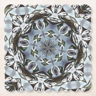Hexagone de feuille de jungle et de fleurs dessous-de-verre en papier