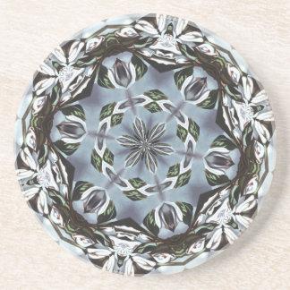 Hexagone de feuille de jungle et de fleurs dessous de verres