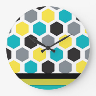 Hexagone multi de couleur grande horloge ronde