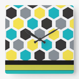 Hexagone multi de couleur horloge carrée