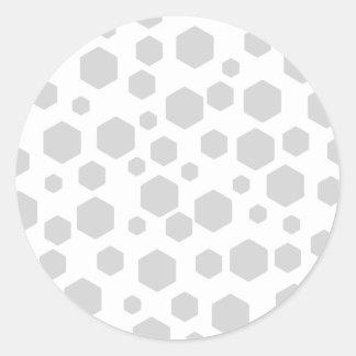 Hexagones gris autocollants ronds