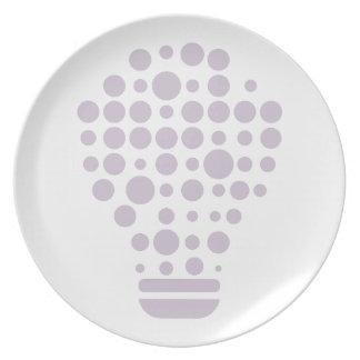 Hexahedrons à l'intérieur d'ampoule d'idée assiettes en mélamine