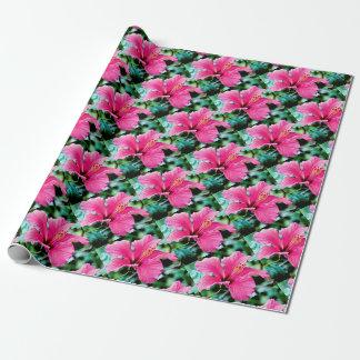 Hibiscus rose vif papier cadeau noël