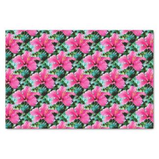 Hibiscus rose vif papier mousseline