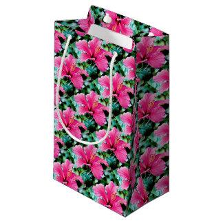 Hibiscus rose vif petit sac cadeau