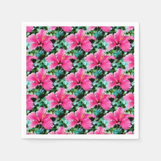 Hibiscus rose vif serviettes jetables