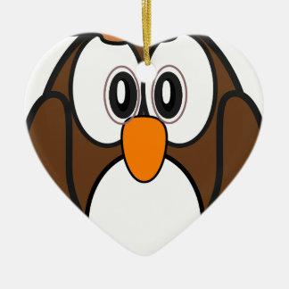 hibou #2 ornement cœur en céramique
