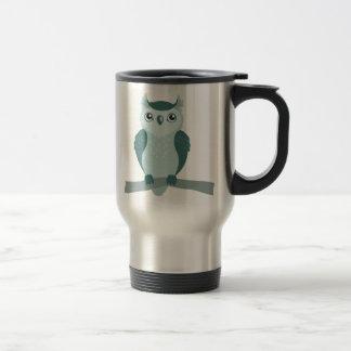 Hibou à cornes mignon - vert de menthe mug de voyage en acier inoxydable