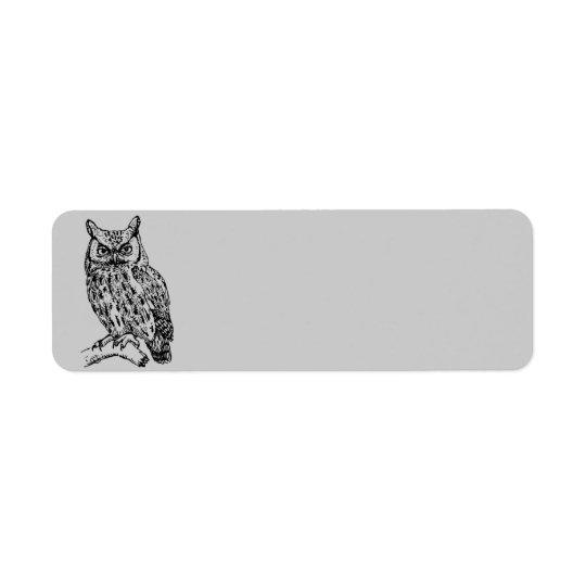 Hibou Animated Étiquette D'adresse Retour