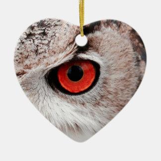 Hibou aux yeux rouges ornement cœur en céramique