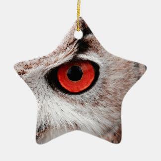 Hibou aux yeux rouges ornement étoile en céramique