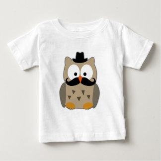 Hibou avec la moustache et le casquette t-shirt pour bébé