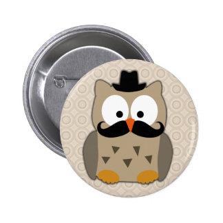 Hibou avec la moustache et le chapeau badges avec agrafe