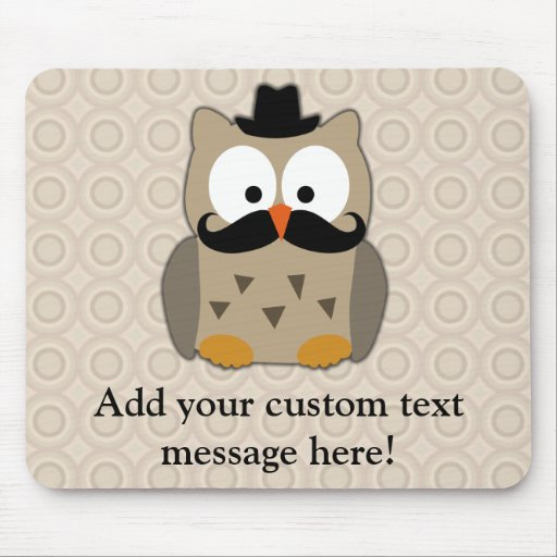 Hibou avec la moustache et le chapeau tapis de souris