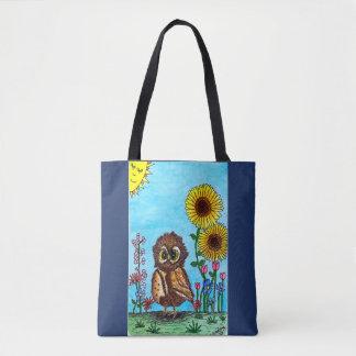 Hibou avec le sac fourre-tout à tournesols