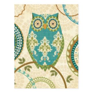 Hibou avec les motifs circulaires cartes postales