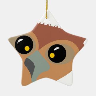 Hibou bigleux ornement étoile en céramique