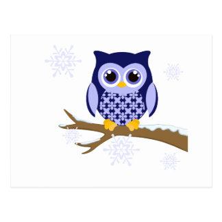Hibou bleu d'hiver carte postale
