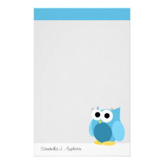 Hibou bleu drôle - papeterie personnalisée