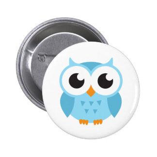 Hibou bleu mignon de bébé de bande dessinée badge rond 5 cm