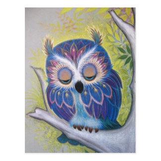 Hibou bleu vintage de sommeil carte postale