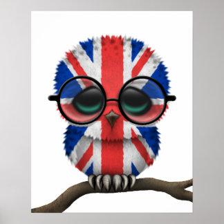 Hibou britannique ringard personnalisable de bébé poster