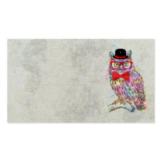 Hibou coloré à la mode drôle frais de couleurs carte de visite standard