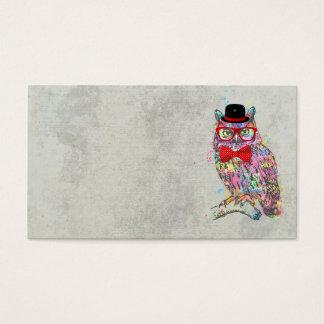 Hibou coloré à la mode drôle frais de couleurs cartes de visite