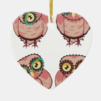 Hibou curieux en verres turquoises ornement cœur en céramique