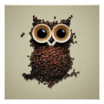 Hibou de café affiches