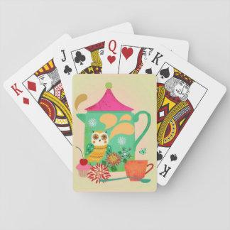 Hibou de café de matin cartes à jouer