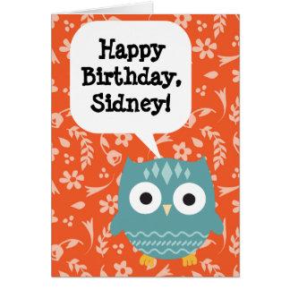 Hibou de carte d'anniversaire des enfants