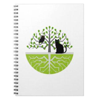 Hibou de chat de chêne de carnet