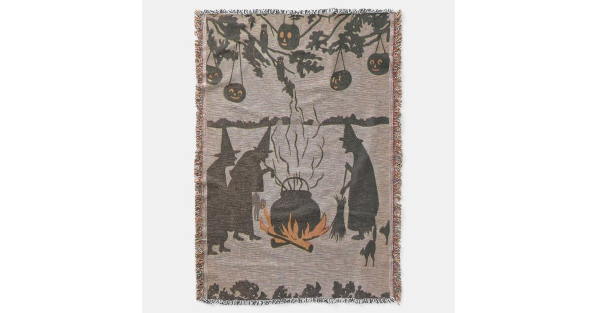 hibou de chaudron de lanterne de jack o de couvre pied de lit zazzle. Black Bedroom Furniture Sets. Home Design Ideas