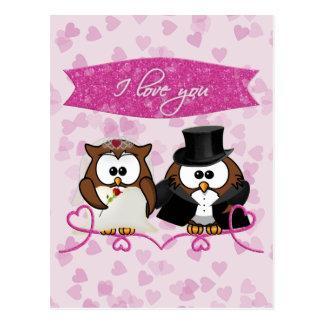 hibou de couples - je t'aime carte postale