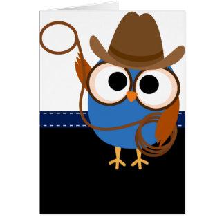 Hibou de cowboy cartes