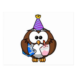Hibou de fête d'anniversaire carte postale