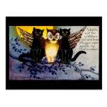 Hibou de Halloween et chats noirs Carte Postale