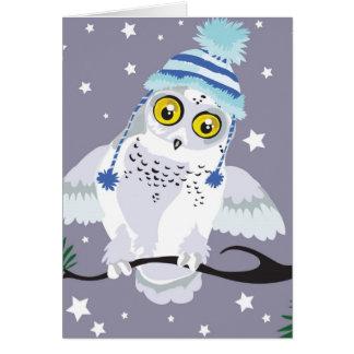 Hibou de Milou avec des cartes de voeux d'hiver de