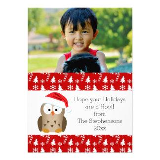 Hibou de Noël avec la carte de vacances de photo Carton D'invitation 11,43 Cm X 15,87 Cm