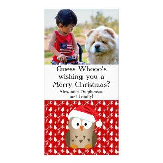 Hibou de Noël de conjecture Whoo avec le chapeau Photocartes