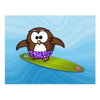 hibou de surfer carte postale