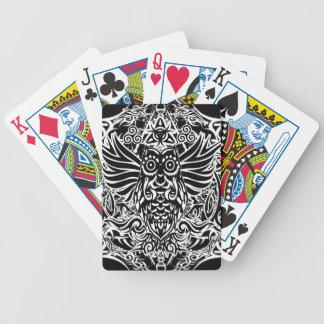 Hibou de tribal de tatouage jeu de cartes