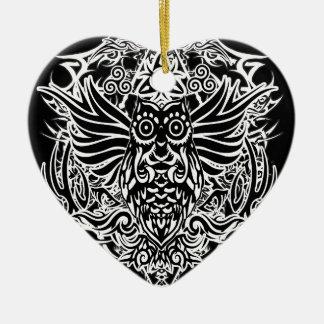 Hibou de tribal de tatouage ornement cœur en céramique