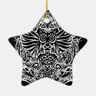 Hibou de tribal de tatouage ornement étoile en céramique