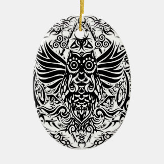 Hibou de tribal de tatouage ornement ovale en céramique
