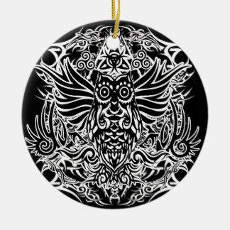 Hibou de tribal de tatouage ornement rond en céramique